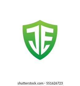 Initial letters JE shield shape green simple logo