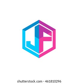 Initial letters JF hexagon box shape logo blue pink purple