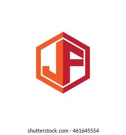 Initial letters JF hexagon shape logo red orange