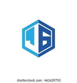 Initial letters JG negative space hexagon shape logo blue
