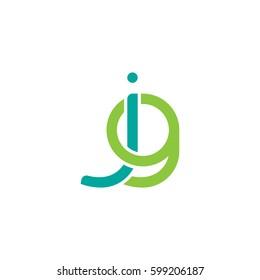 Initial letters jg, round linked overlapping chain shape lowercase logo modern design modern green