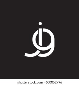 Initial letters jg, round linked overlapping chain shape lowercase logo modern design white black background