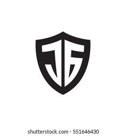 Initial letters JG shield shape black monogram logo
