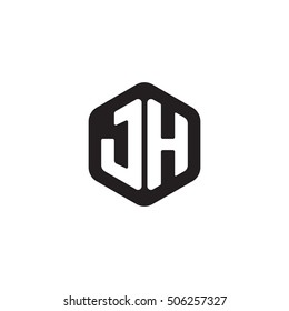 Initial letters JH rounded hexagon shape monogram black simple modern logo