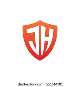 Initial letters JH shield shape red simple logo