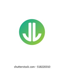 Initial letters JL circle shape green simple logo