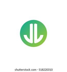 Initial letters JL circle shape green simple logo