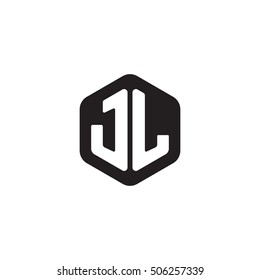 Initial letters JL rounded hexagon shape monogram black simple modern logo
