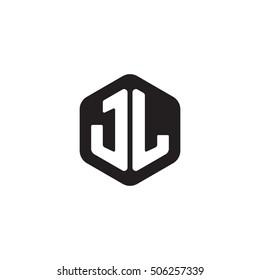 Initial letters JL rounded hexagon shape monogram black simple modern logo