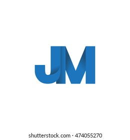 Initial letters JM overlapping fold logo blue