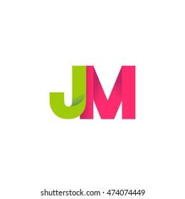Initial letters JM overlapping fold logo green magenta