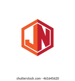 Initial letters JN hexagon shape logo red orange