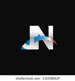 Initial letters JN overlapping movement swoosh logo, metal silver blue red color on black background