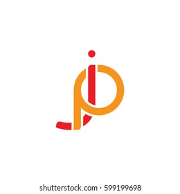 Initial letters jp, pj, round linked overlapping chain shape lowercase logo modern design red orange