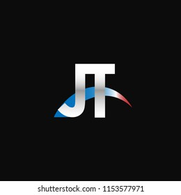 Initial letters JT overlapping movement swoosh logo, metal silver blue red color on black background