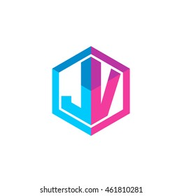 Initial letters JV hexagon box shape logo blue pink purple