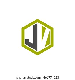 Initial letters JV negative space hexagon shape logo green black gray