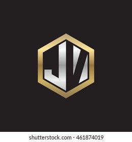 Initial letters JV negative space hexagon shape logo silver gold