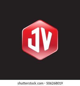 Initial letters JV rounded hexagon shape red modern logo