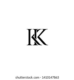 Initial letters K KK linked monogram logo vector. Business logo monogram with two overlap letters inside circle isolated on white background.