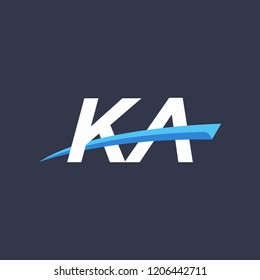 Initial letters KA illustrations designs with swoosh vector for company logo.