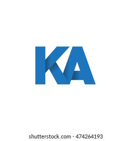 Initial letters KA overlapping fold logo blue