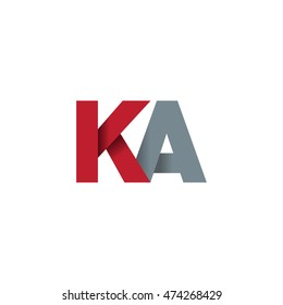 Initial letters KA overlapping fold logo red gray