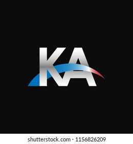 Initial letters KA overlapping movement swoosh logo, metal silver blue red color on black background