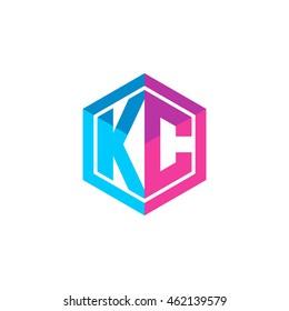 Initial letters KC hexagon box shape logo blue pink purple