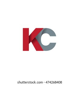 Initial letters KC overlapping fold logo red gray