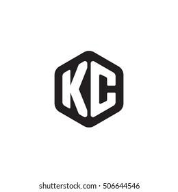 Initial letters KC rounded hexagon shape monogram black simple modern logo