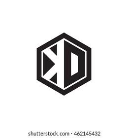 Initial letters KD, DO, negative space hexagon shape monogram logo