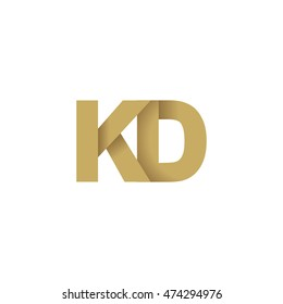 Initial letters KD overlapping fold logo brown gold
