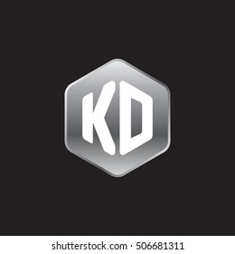 Initial letters KD rounded hexagon shape silver modern logo