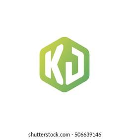Initial letters KJ rounded hexagon shape green simple modern logo