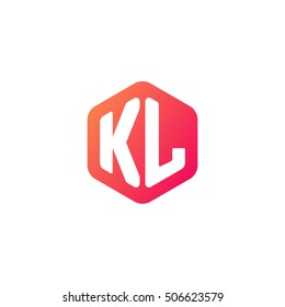 Initial letters KL rounded hexagon shape red orange simple modern logo