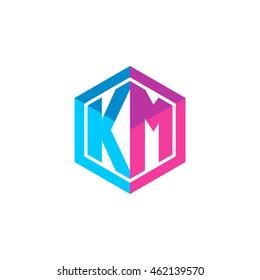 Initial letters KM hexagon box shape logo blue pink purple