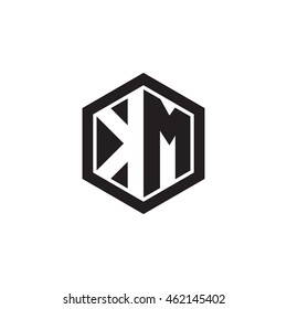 Initial letters KM negative space hexagon shape monogram logo