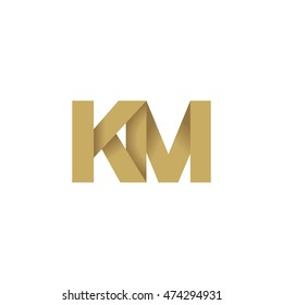 Initial letters KM overlapping fold logo brown gold