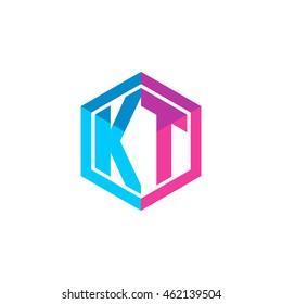 Initial letters KT hexagon box shape logo blue pink purple