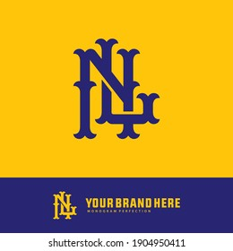 Initial letters L, N, LN or NL overlapping, interlock, monogram logo, blue color on yellow background