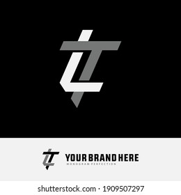 Initial letters L, T, LT or TL overlapping, interlock, monogram logo, white and gray color on black background