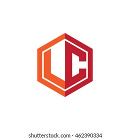 Initial letters LC hexagon shape logo red orange
