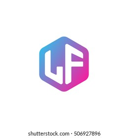 Initial letters LF rounded hexagon shape blue pink purple simple modern logo