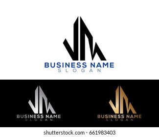 AM initial letters linked triangle shape logo