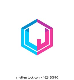 Initial letters LJ hexagon box shape logo blue pink purple