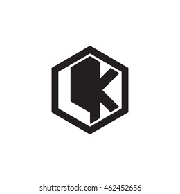 Initial letters LK negative space hexagon shape monogram logo