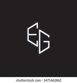 EG Initial Letters logo monogram with up to down style isolated on black background