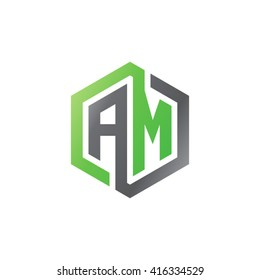 AM initial letters loop linked hexagon logo black gray green