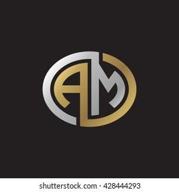 AM initial letters looping linked ellipse elegant logo golden silver black background